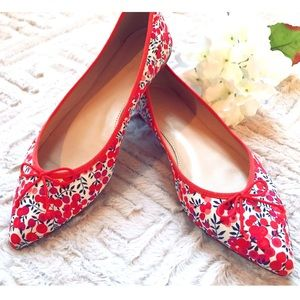 J. Crew Floral Pointed Toe Flats